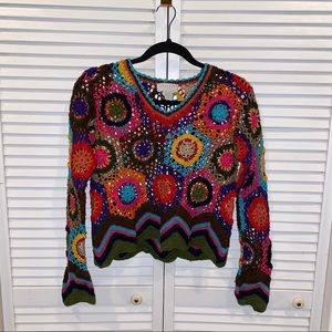 UO vtg crochet granny square sweater md